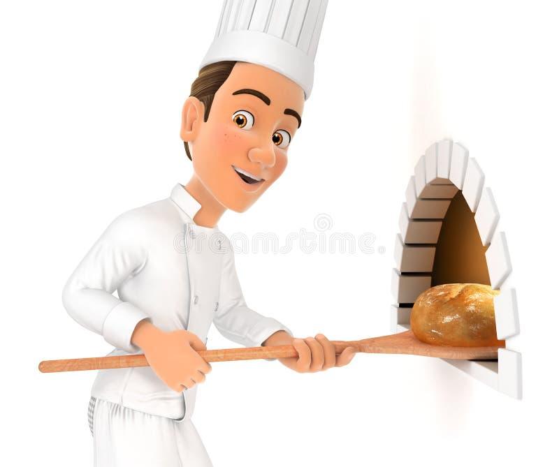 шеф-повар 3d кладя хлеб в печь иллюстрация вектора