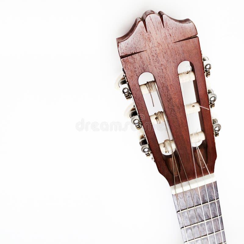 Шея акустической гитары классическая головка гитары стоковое изображение