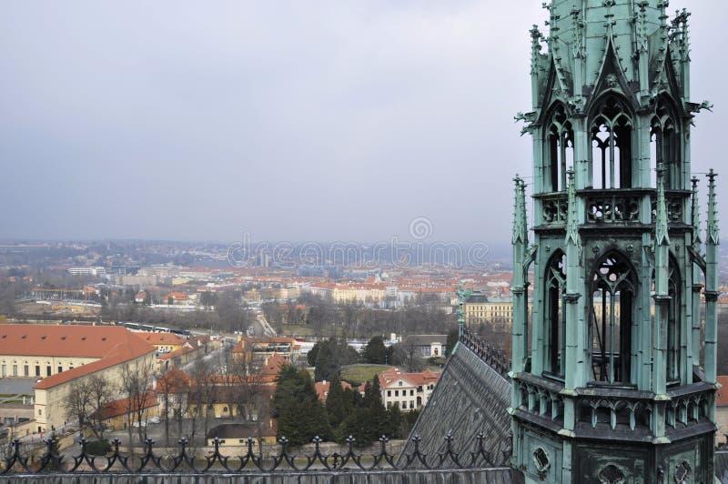 Шедевр европейской готической архитектуры собор St Vitus, конструкция чего унесл почти 600 y стоковая фотография rf