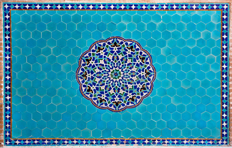 Шедевр крыл стену черепицей с картинами Ближний Востока стоковое фото