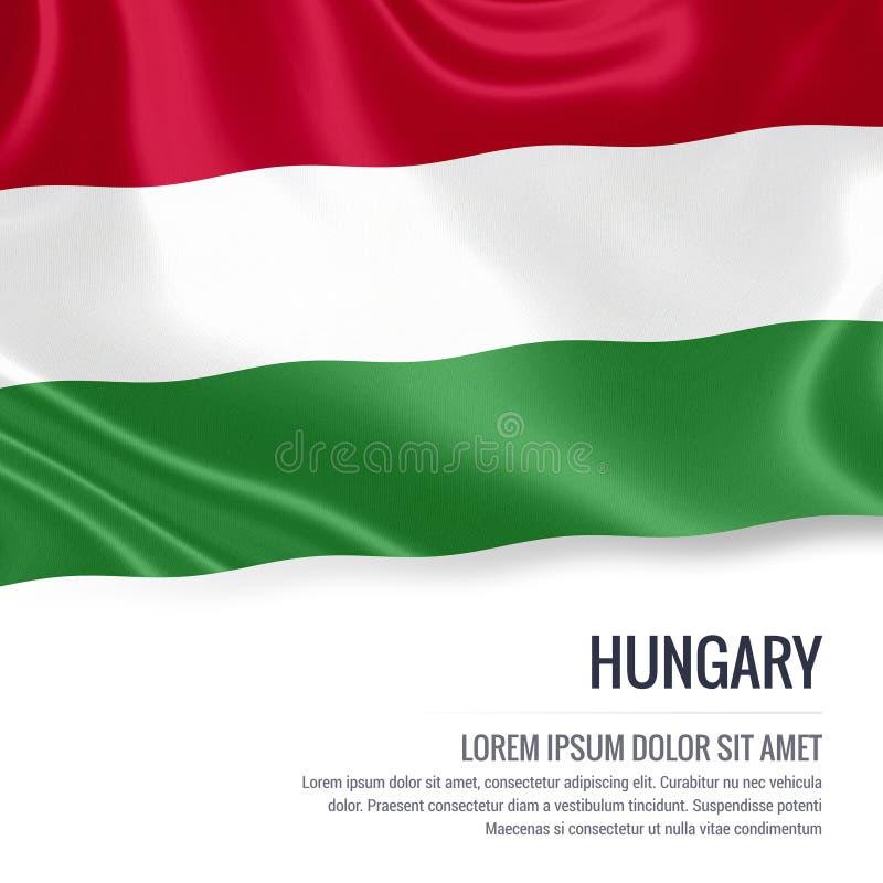 Шелковистый флаг Венгрии развевая на изолированной белой предпосылке с белым текстовым участком для вашего сообщения рекламы иллюстрация вектора