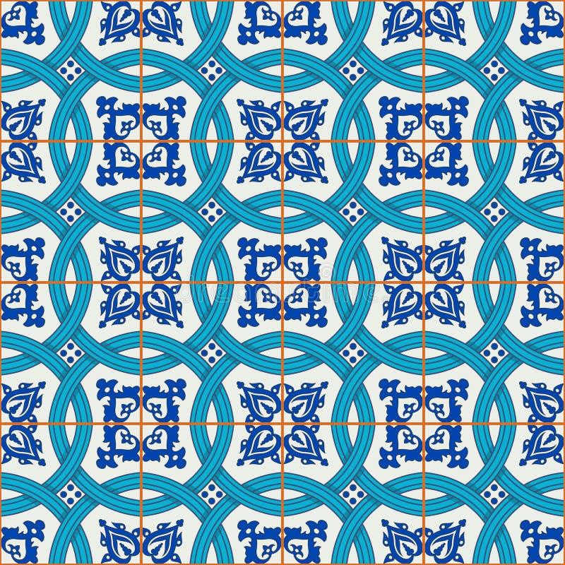 Шикарная безшовная картина заплатки от синего и белого марокканца, португальских плиток, Azulejo, орнаментов бесплатная иллюстрация
