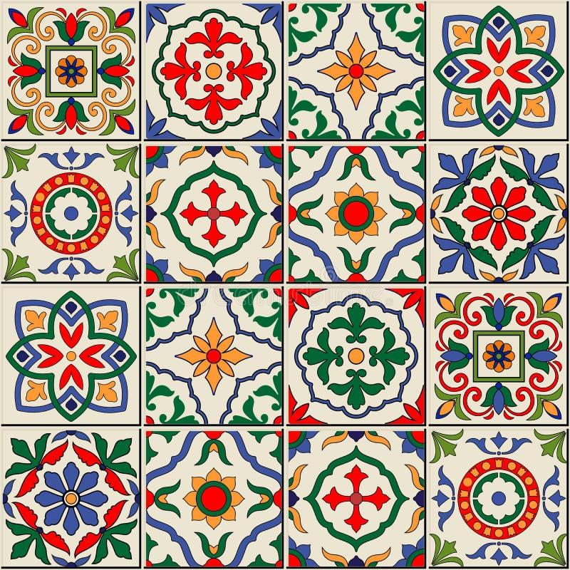 Шикарная безшовная картина Марокканец, португальские плитки, Azulejo, орнаменты бесплатная иллюстрация