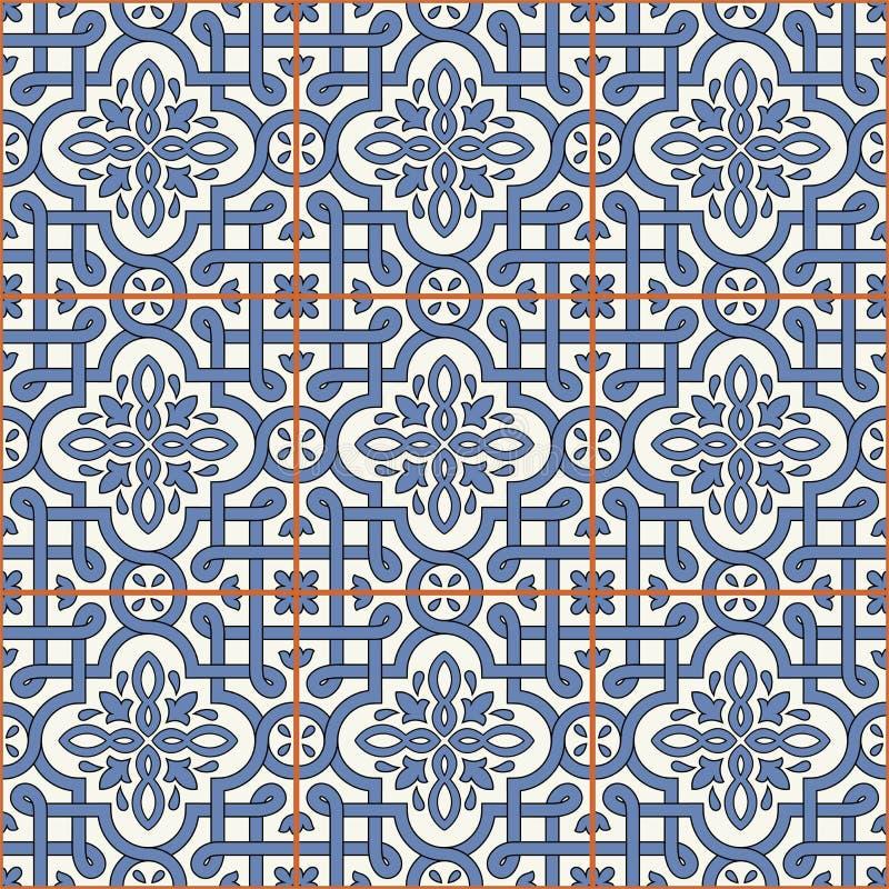 Шикарная безшовная картина от плиток и границы Морокканский, португальцы, мексиканский, арабские, орнаменты Azulejo смогите быть  иллюстрация вектора
