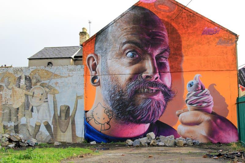 Шикарная деталь в искусстве улицы на стене здания, лимерика, Ирландии, 2014 стоковое изображение rf