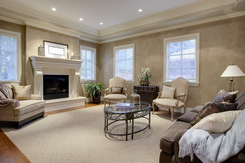 шикарная живущая комната салона стоковое изображение