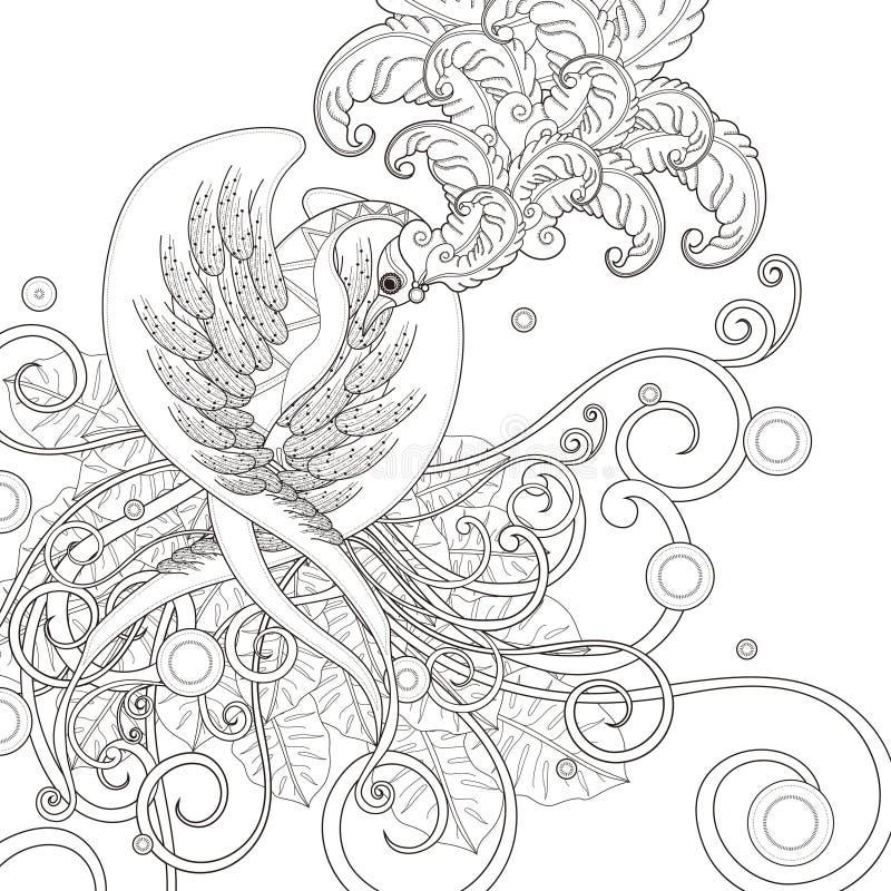 Шикарная страница расцветки птицы иллюстрация вектора