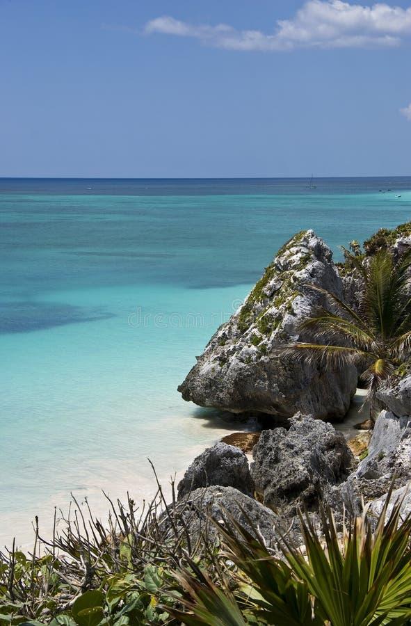 шикарное tulum берега моря Мексики стоковое фото rf