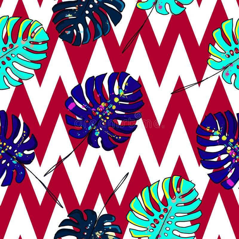 Шикарной нарисованный рукой вектор картины гаваиского тропического стиля цветков ретро безшовный бесплатная иллюстрация