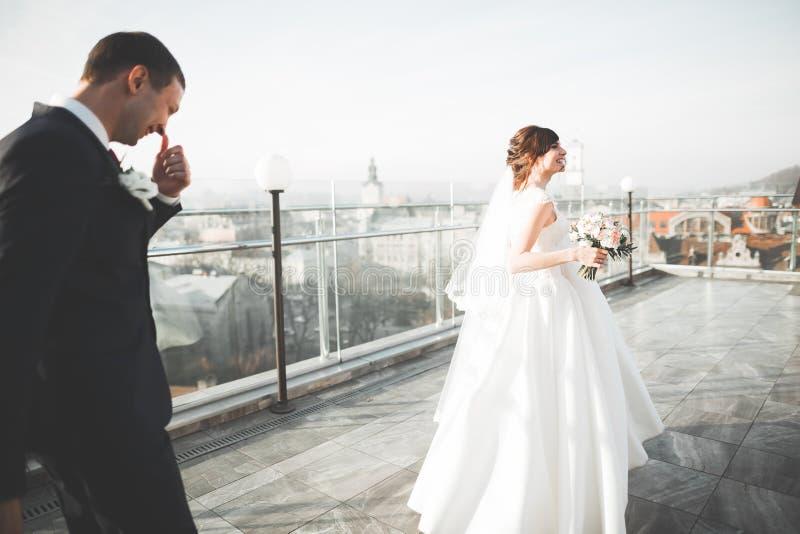 Шикарные пары свадьбы идя в старый город Львова стоковые фото