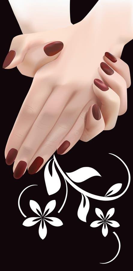 шикарный женский флористический орнамент рук иллюстрация штока