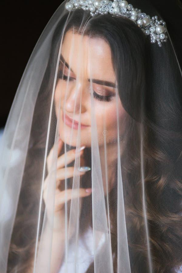 Красивая молодая невеста с макияжем свадьбы и стиль причесок в спальне Красивый портрет невесты с вуалью над ее стороной стоковое изображение rf