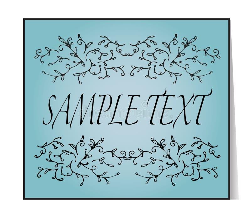 шикарный текст рамки Флористической винтажной виньетки нарисованные рукой иллюстрация вектора