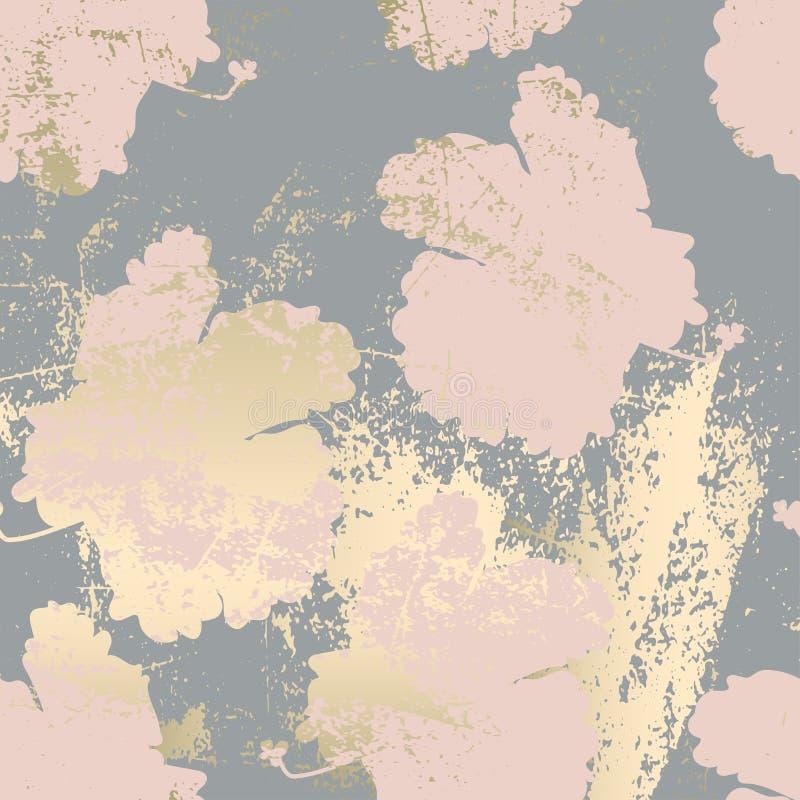 Шик краснеет текстура grunge золота пинка ультрамодная мраморная с флористическим орнаментом бесплатная иллюстрация