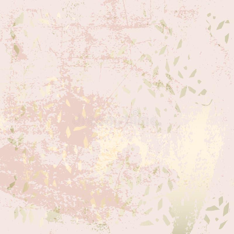 Шик краснеет текстура grunge золота пинка ультрамодная мраморная с флористическим орнаментом иллюстрация штока
