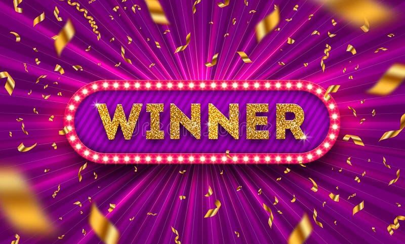 Шильдик победителя ретро и золотой confetti фольги против светлой разрыванной предпосылки r Рамка электрической лампочки победите бесплатная иллюстрация