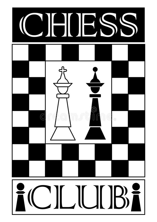 Шильдик шахматного клуба в monochrome дизайне, короле шахматной фигуры белом и черном ферзе, доске конструировал рамку иллюстрация штока