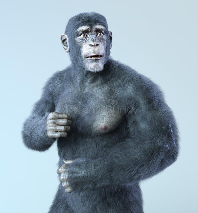 Шимпанзе и человеческий гибрид иллюстрация вектора