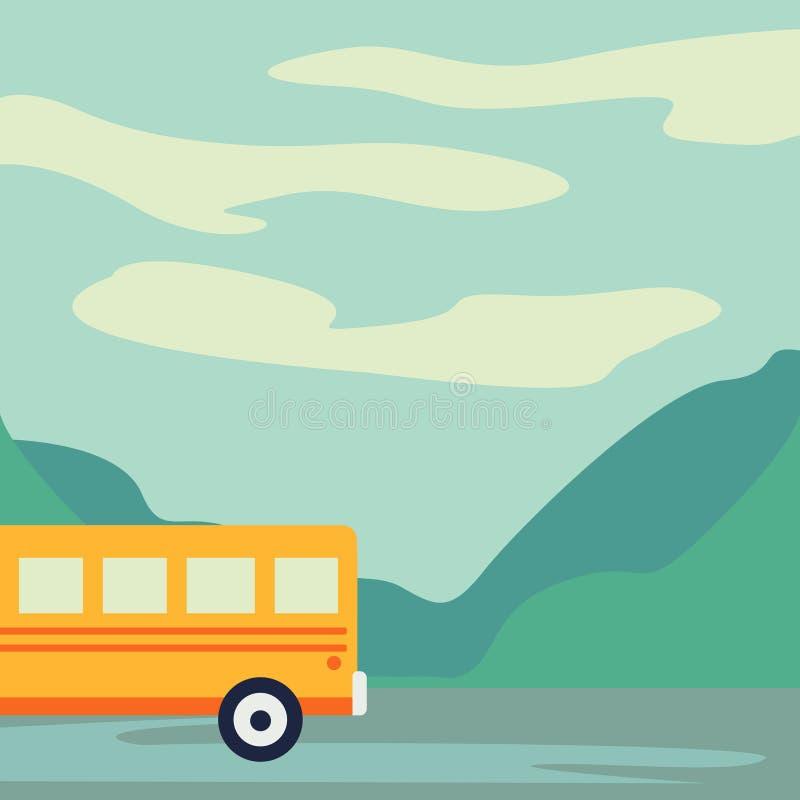 Шина отклонения на шоссе Туристический автобус покидая иллюстрация вектора города бесплатная иллюстрация