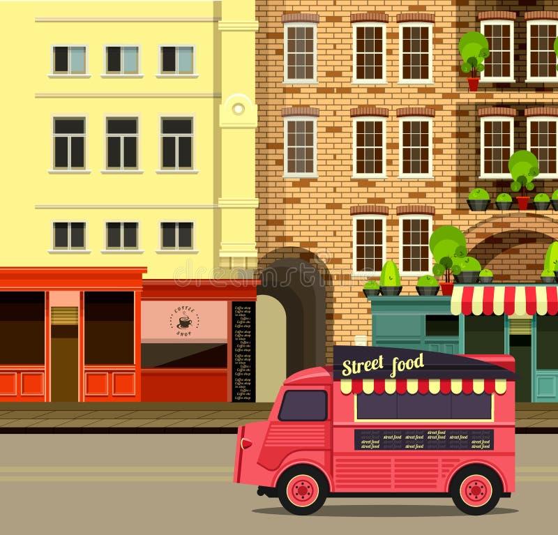 Шина с едой улицы иллюстрация штока