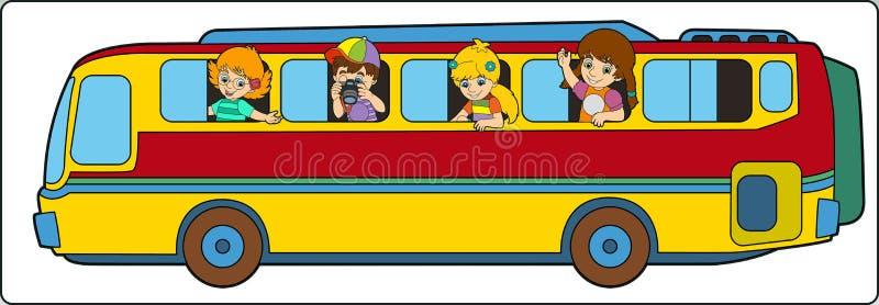Шина шаржа на школьной поездке иллюстрация вектора