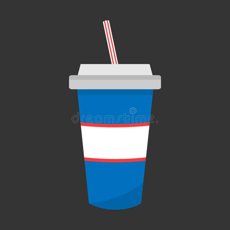 Шипучка соды в значке вектора бумажного стаканчика иллюстрация вектора
