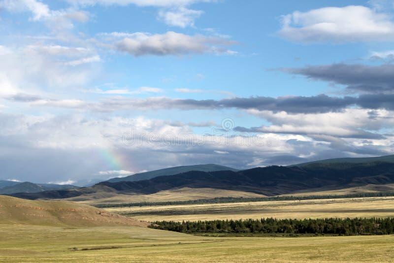 Широкая степь с желтой травой под голубым небом с белизной заволакивает горы Sayan Сибирь Россия стоковое фото rf