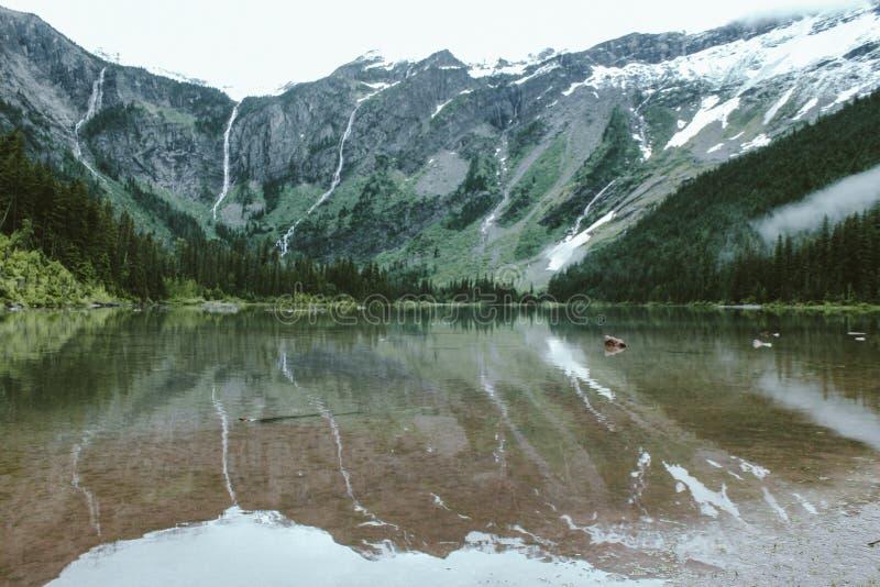 Широкая съемка озера лавин, отражая гору около леса на национальном парке ледника стоковые фотографии rf
