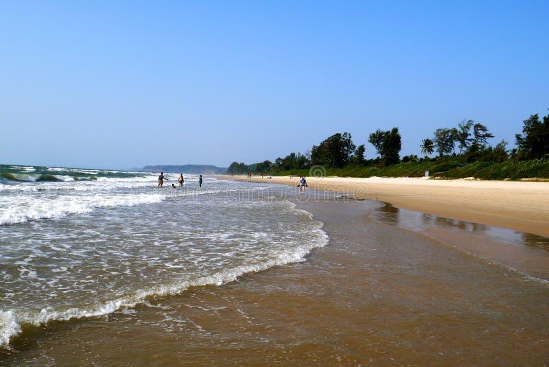 Широкие бесконечные пляжи положения GOA в Индии стоковое изображение