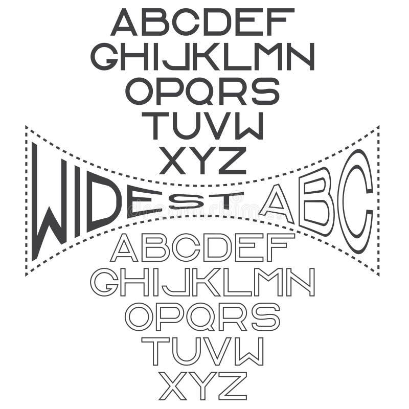 широкий алфавит для ярлыков бесплатная иллюстрация