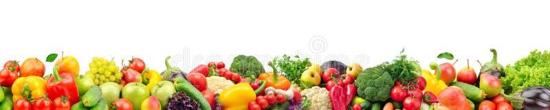 Широкий коллаж свежих фруктов и овощей для изолированного плана стоковое фото