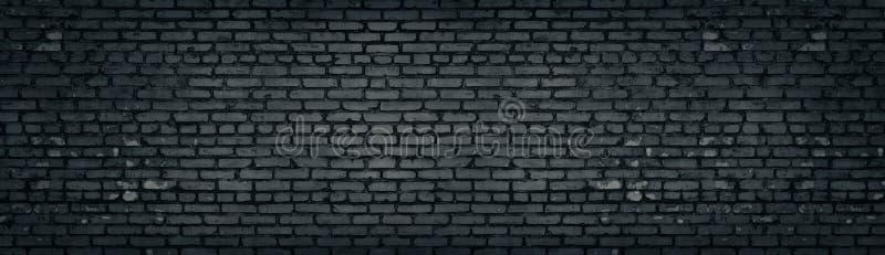 Широкое старое темное - серая затрапезная текстура кирпичной стены Черная панорама masonry Предпосылка кирпичной кладки панорамна иллюстрация штока