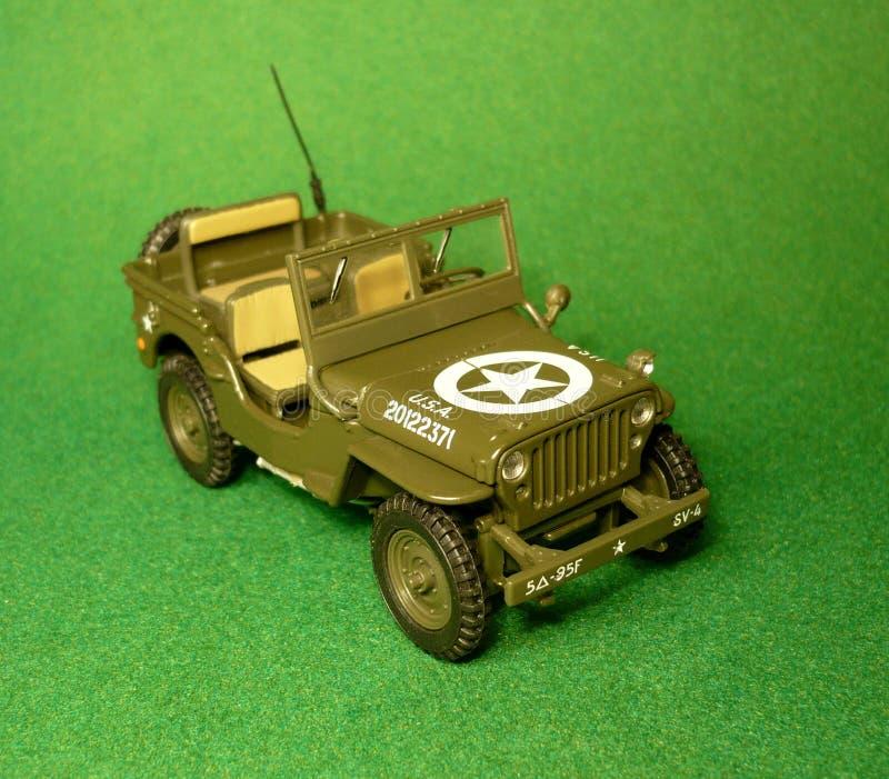 Широкомасштабная модель воинского автомобиля Willys стоковое изображение