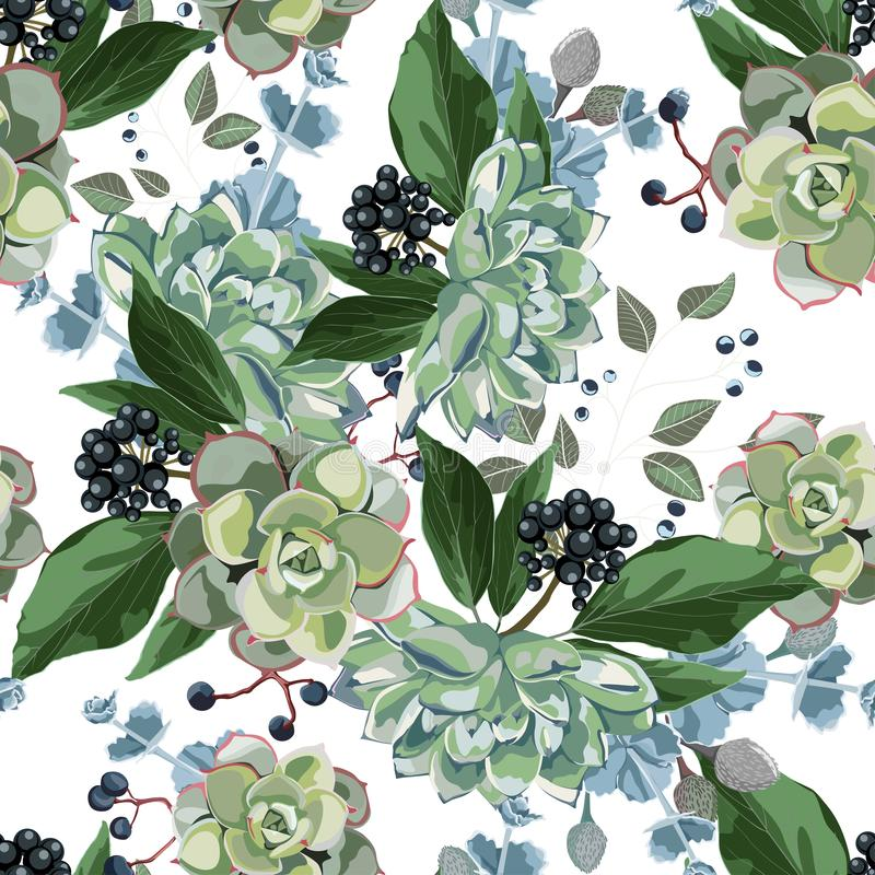 Широкополосный цветочный фоновый рисунок Ветви с листьями на белом фоне: рождественская ягода, ветви с листьями на белом фоне иллюстрация вектора