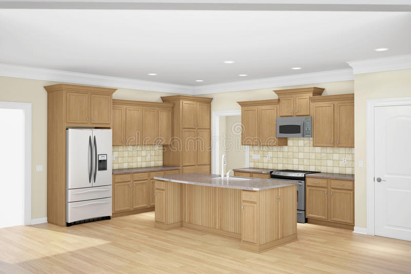 Широкоформатное кухни внутреннее иллюстрация штока