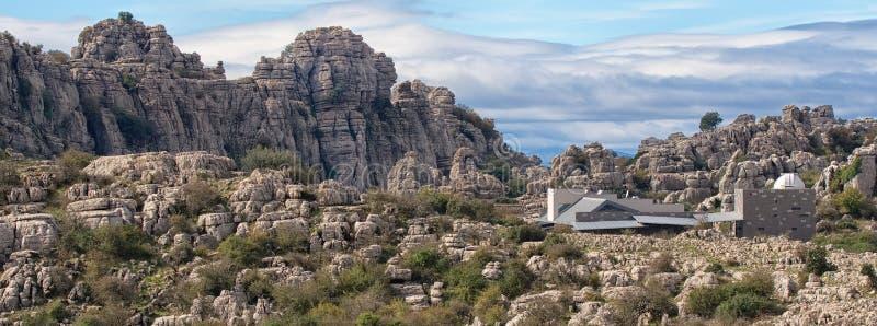 Широкоформатный взгляд, юрские горные породы, El Torcal, Antequera, Испания стоковые изображения