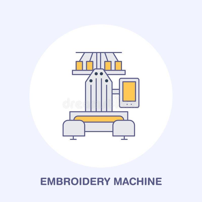 Шить вышивка подвергает плоскую линию механической обработке значок, логотип Иллюстрация вектора покрашенная поставек портноя для иллюстрация штока