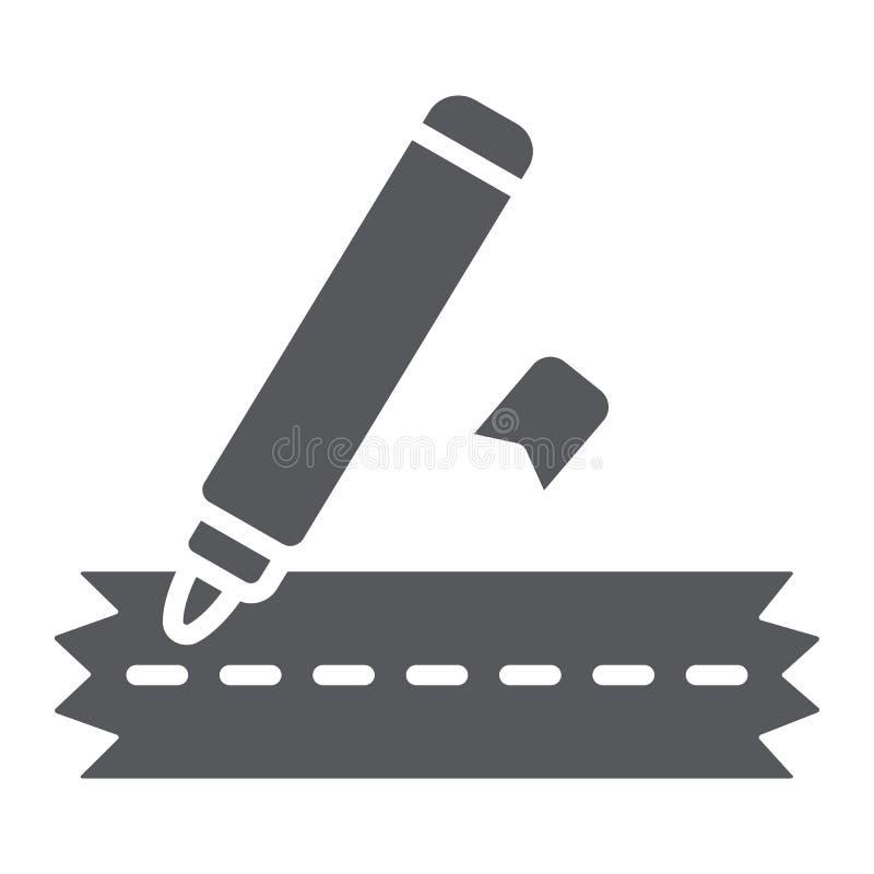 Шить значок глифа отметки, ремесло и зашить, знак отметки одежд, векторные графики, твердая картина на белой предпосылке иллюстрация вектора