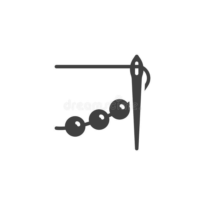 Шить игла со значком вектора потока и шарика иллюстрация вектора