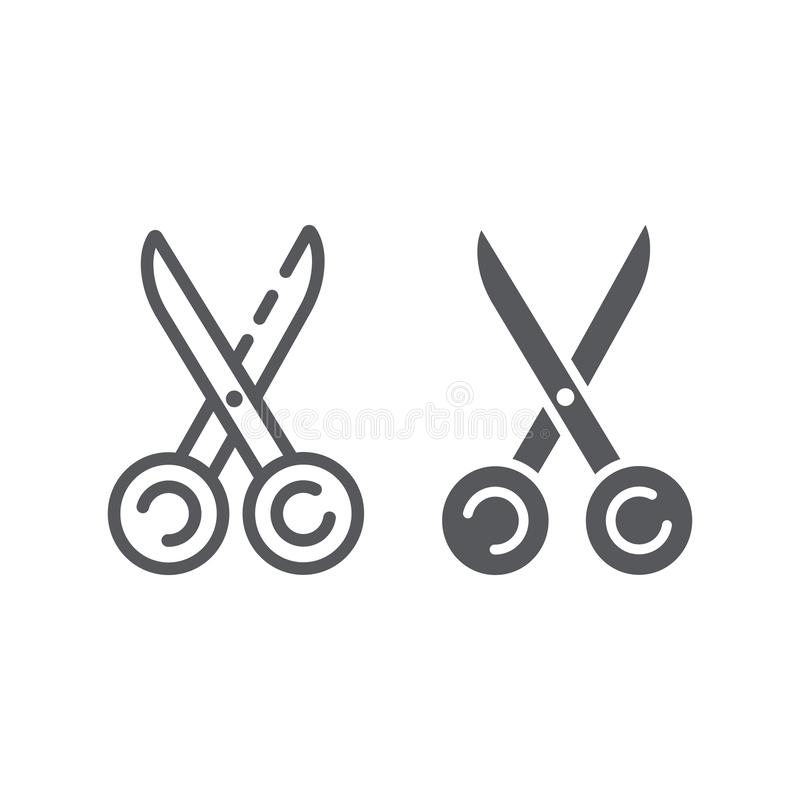 Шить ножницы выравниваются и значок глифа, инструмент и зашить, знак оборудования портноев, векторные графики, линейная картина н иллюстрация штока