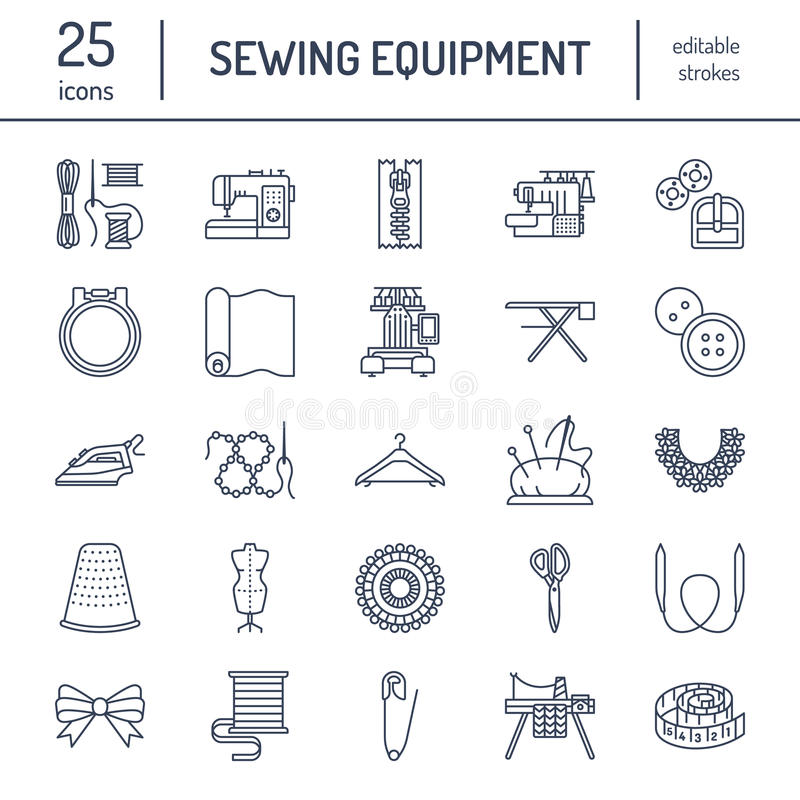 Шить оборудование, портной поставляет плоскую линию установленные значки Аксессуары Needlework - шить машина вышивки, штырь, игла иллюстрация штока