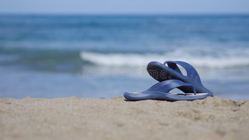 Шиферы лежат на песке на пляже стоковое фото rf