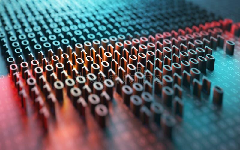 Шифрование бинарного кода иллюстрация вектора