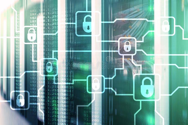 Шифрование данным по Blochain Безопасность кибер, секретная валюта иллюстрация вектора