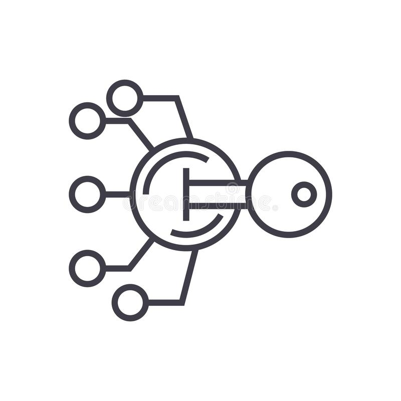 Шифрование, линия значок вектора ключевого понятия тайнописи тонкая, символ, знак, иллюстрация на изолированной предпосылке иллюстрация вектора