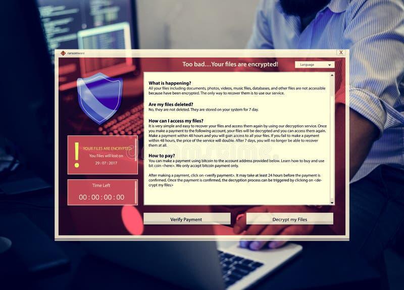 Шифровать предупреждение хлопает вверх на кибер атаке экрана компьютера стоковая фотография rf
