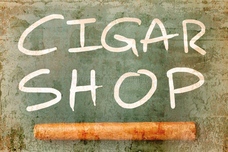 Шильдик перекрытия магазина сигары при старая текстурированная стена стоковые изображения