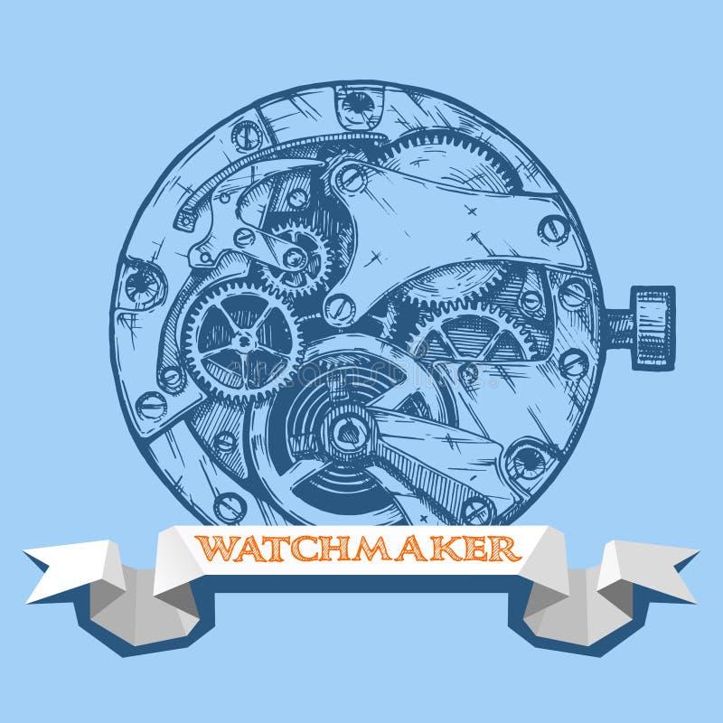 Шильдик часовщика с clockwork иллюстрация вектора