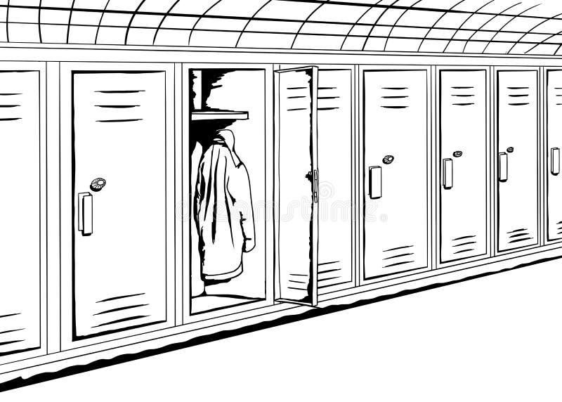 Шкафчики плана с пальто бесплатная иллюстрация