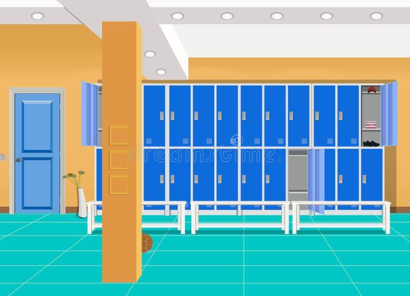 Шкафчик или раздевалка для футбола, баскетбольная команда Шлихта спорт формы, тренажера, атлетического костюма иллюстрация вектора